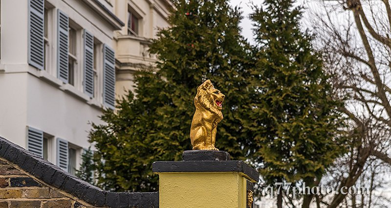 gold lion on a pedestal in front of the gate to the estate, gold